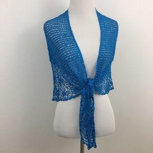 🆕 Blue Crocheted Shawl Wrap
